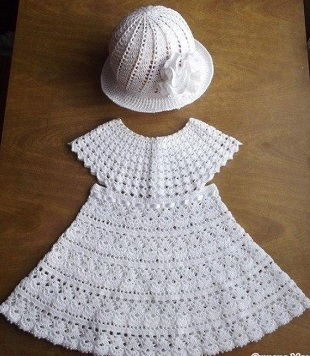 Летнее платье и панамка крючком для девочки