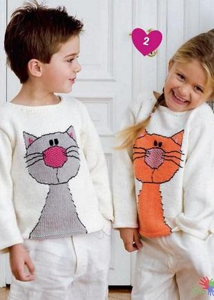 Детские пуловеры с котами
