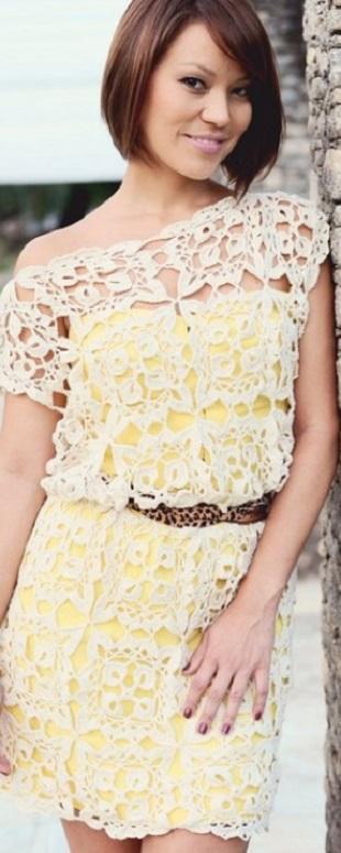 Мотив для летнего платья крючком