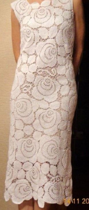 Платье ирландским кружевом крючком