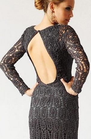 Платье с открытой спиной крючком
