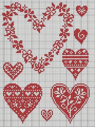 Схемы сердечек спицами