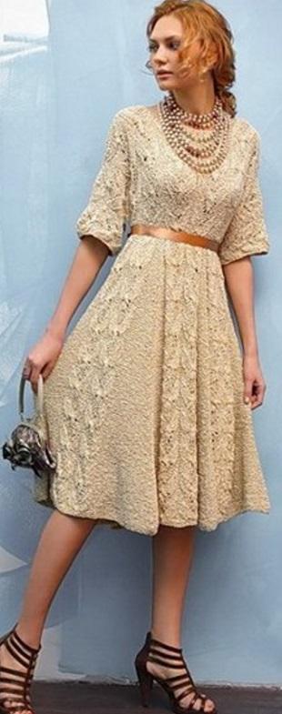 Винтажное платье спицами