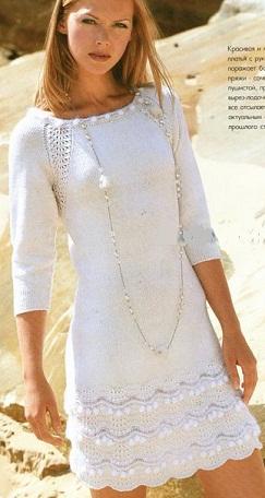 Вязание платье спицами | платья спицами схемы