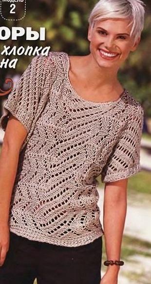 Хлопковый пуловер спицами