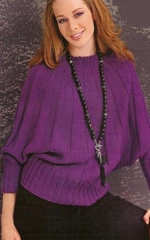 Пуловер - пончо спицами