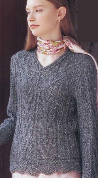 Нарядный пуловер спицами