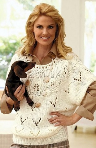 Вязание пуловера-пончо