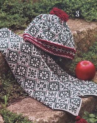 Шапка и шарф с орнаментом спицами