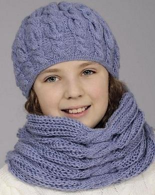 Шапочка и шарф схема